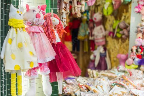 Spoed Fotobehang Carnaval Handmade toys on sales