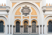 Picturesque Windows Of Spanish Synagogue In Josefov, Prague, Czech Republic. Detailed View.