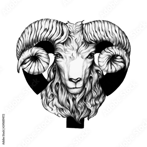 Photo Hand drawn horoscope symbol of Aries illustration