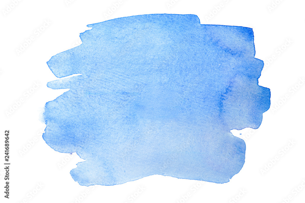 Fototapety, obrazy: Blue watercolor stain, on white background isolated. Hand-drawn blot on white background isolated.