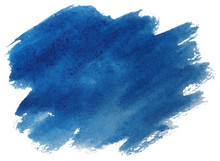 Blue Watercolor Stain, On Whit...