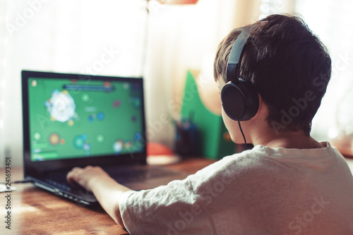 Fotografie, Obraz Little dependent gamer boy playing on laptop