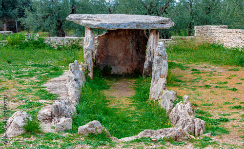 Dolmen Della Chianca at Sunset, a Prehistoric Building in Bisceglie, Apulia, Ita Canvas Print