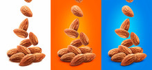 Falling Almond Nuts Isolated O...