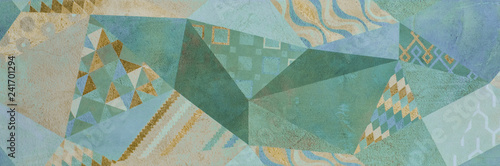Fototapeta abstract geometric ornamental wallpaper pattern, ethnic arabic, indian, turkish ornament obraz