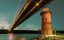 George Washington Bridge And Red Little Lighthouse Officially Jeffrey's Hook Light, New York, USA