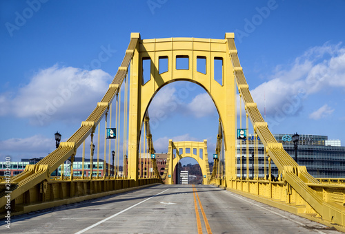 Andy Warhol Bridge in Downtown Pittsburgh, Pennsylvania, USA Canvas Print