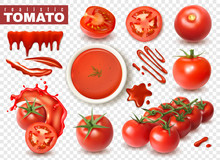 Realistic Tomato Transparent Set