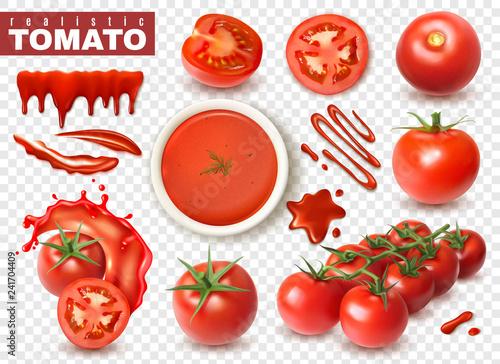 Fotomural  Realistic Tomato Transparent Set
