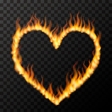 Bright Realistic Fire Flames In Heart Shape, Hot Love Concept On Transparent