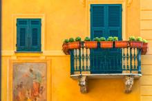 Typical Italian Village Portofino With Colorful Close Up Balconies In Italy, Liguria Sea Coast