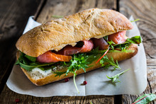 Big Sandwich With Salmon And C...
