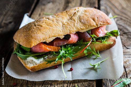 Plakat w ramie Big sandwich with salmon and cream cheese