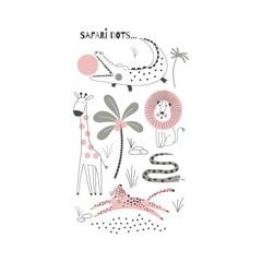 Fototapeta Do pokoju dziecka Decorative pink and green Savannah Wild Animals illustration with allegator, giraffe, lion, snake, leopard, Scandinavian style safari graphic, Kids summer t-shirt print