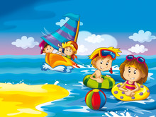 The Kids Playing At The Beach, Diving, Building In Sand - Ocean - Sea - Illustration For The Childrenkids Playing At The Beach Having Fun By The Sea Or Ocean - Illustration For Children