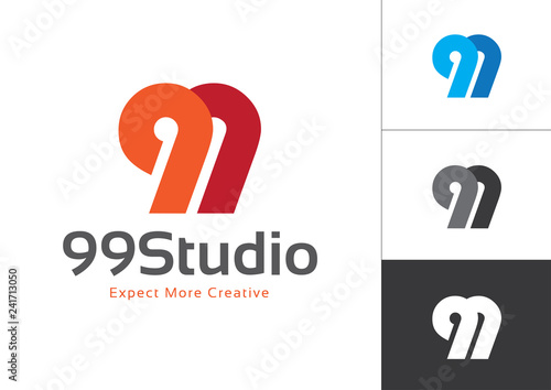 Initial Number 99 Connected Each Other Vector Logo Design Template Tableau sur Toile