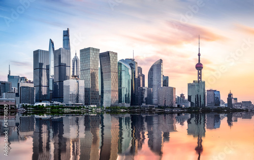 Photo  shanghai skyline at sunset