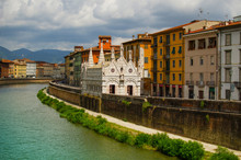 View On  Arno River In Pisa With Gothic Cathedral Santa Maria Della Spina