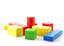 Colorful Wooden Blocks Isolate...