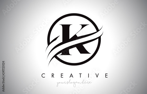 K Letter Logo Design With Circle Swoosh Border And Creative
