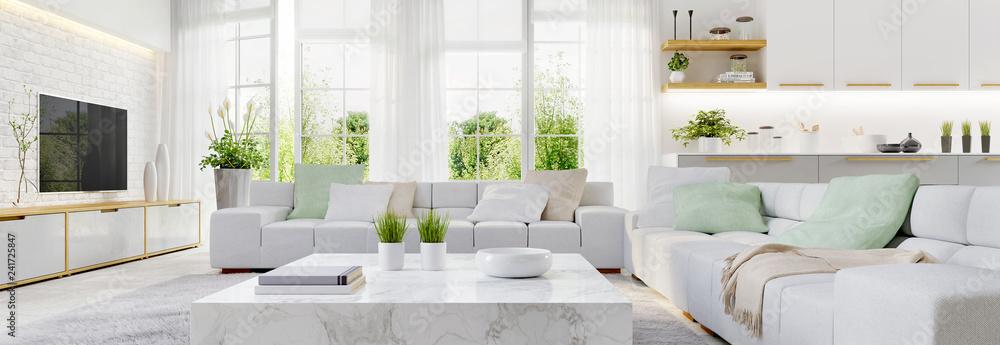 Fototapeta Modern kitchen and modern living room in white interior design