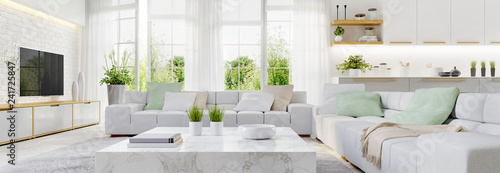 Fototapeta Modern kitchen and modern living room in white interior design