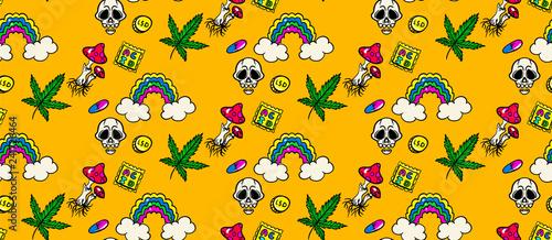 Fotografia  seamless psychedelic trip pattern:LSD, weed, skull, eyeball, rainbow, drugs