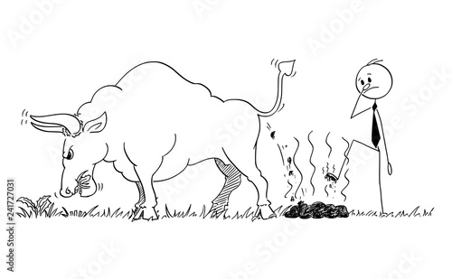 Fotografie, Obraz Cartoon stick man drawing conceptual illustration of businessman step on dung or excrement of bull as rising market prices symbol