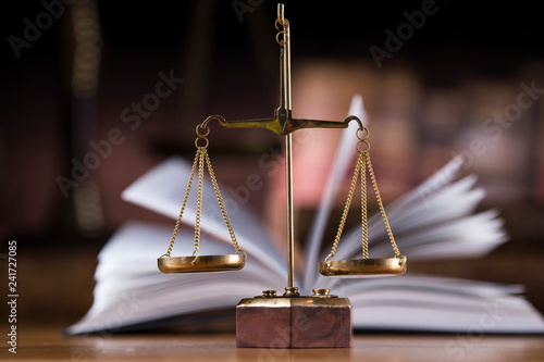 Judges wooden gavel and law Scales Wallpaper Mural