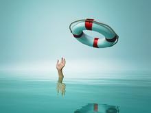 Thrown Life Buoy Saving Drowni...