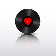 Realistic Black Vinyl Record With Red Heart Label And Mirror Reflection. Retro Sound Carrier Isolated On White Background