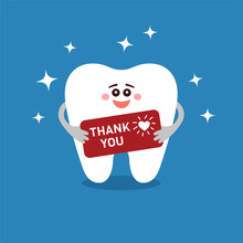 Dental Thank You Card. Smiling Cartoon Tooth Keeping Signboard With Gratitude From Heart. January 11