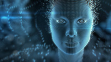 Artificial Intelligence Concept: Dotted Portrait Of Female Face Forming From Abstract Information Symbols. 3D Illustration. Dark Blue Colors.
