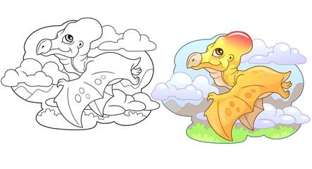 cartoon little cute dinosaur pterodactyl, funny illustration