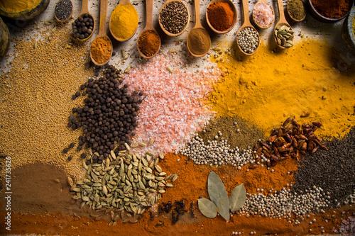 Keuken foto achterwand Aromatische Assortment of spices in wooden bowl background