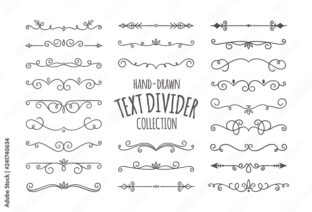 Fototapety, obrazy: Decorative swirls dividers. Hand drawn calligraphic swirl ornaments isolated on white background. Vector illustration.