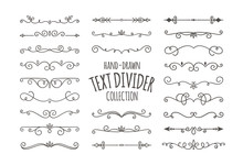 Decorative Swirls Dividers. Hand Drawn Calligraphic Swirl Ornaments Isolated On White Background. Vector Illustration.