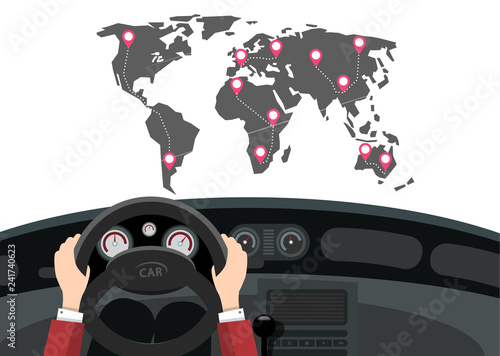 Foto  Car Travel with World Map and Pins on Destinations