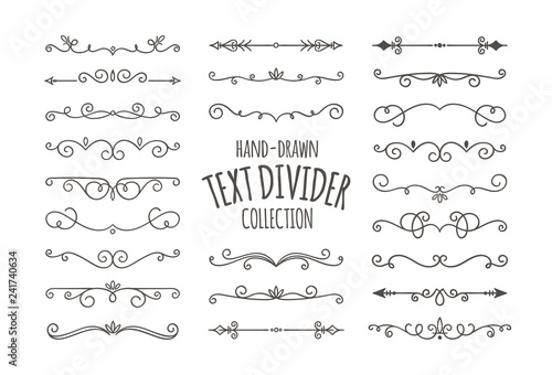 Obraz Decorative swirls dividers. Hand drawn calligraphic swirl ornaments isolated on white background. Vector illustration. - fototapety do salonu