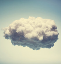White Cotton Cloud On Blue Bac...