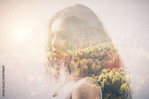 Fototapeta  Portrait of a girl and woods, double exposure.