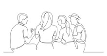 Young Friends Sitting And Talking Together - One Line Drawing