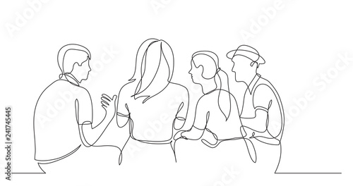 Photo young friends sitting and talking together - one line drawing