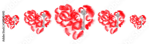 Fotografie, Obraz  symmetrical pattern of red hearts laid out with feathers and keys on a white background