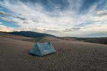 Scenic View Of Tent On Dessert At Great Sand Dunes National Park And Preserve