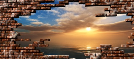 FototapetaSea sunset in the breaking of a brick wall,