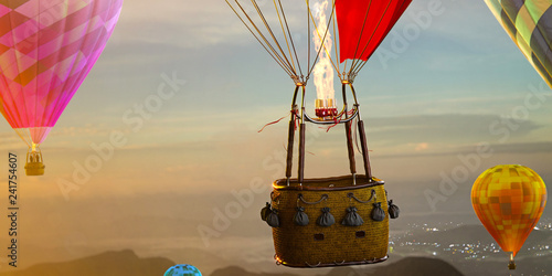 Fotografia, Obraz Empty basket hot air balloon beautiful background