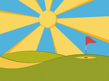 Golf Background. Abstract Golf Course, Hole, Flag And Sun