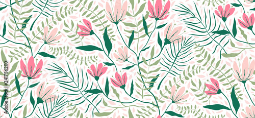 Cotton fabric Flowers and Leaves Exotic Design Seamless Pattern