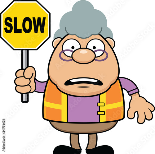 Cartoon Grandmother Crossing Gaurd Slow Poster Mural XXL